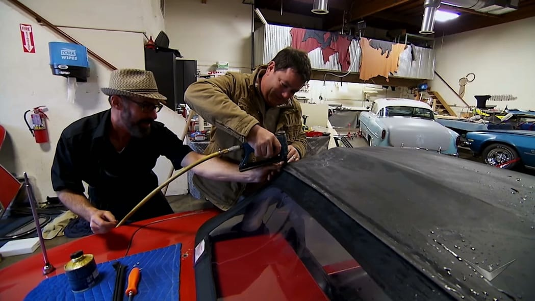 red 1964 chevrolet corvette convertible roof install video