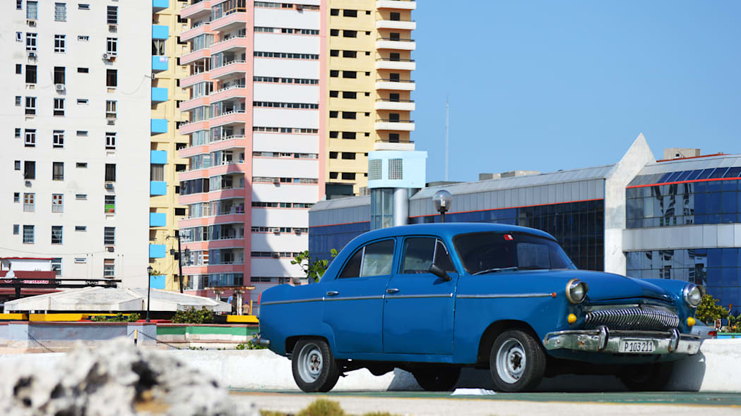 blue russian car in havana, cuba