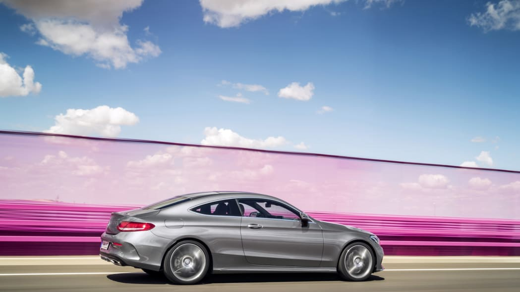 c-class angle rear profile side mercedes coupe