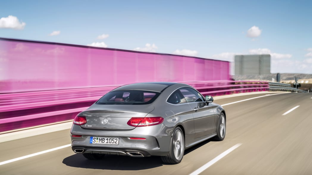 c-class c300 mercedes coupe angle action