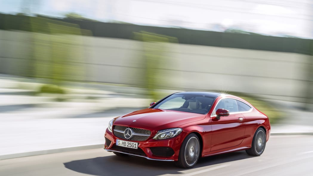 The 2016 Mercedes C-Class Coupe, front three-quarter high.