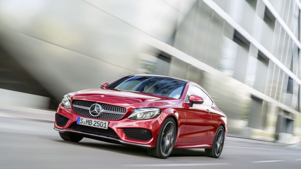 The 2016 Mercedes C-Class Coupe, front three-quarter low.