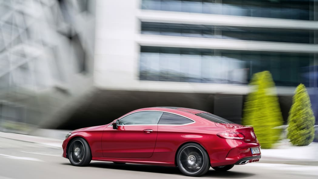 The 2016 Mercedes C-Class Coupe, rear three-quarter dynamic.
