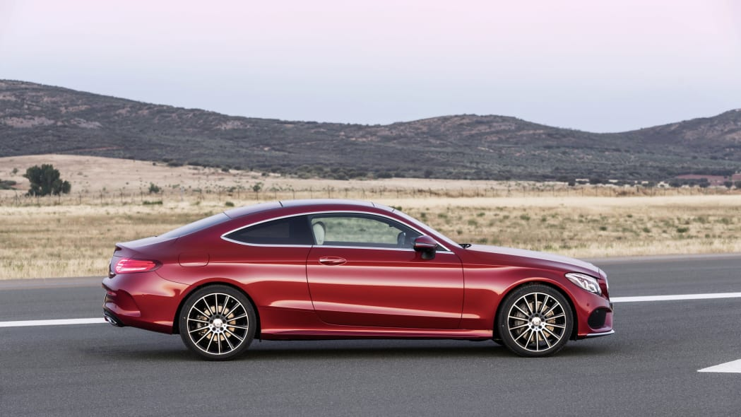 The 2016 Mercedes C-Class Coupe, side view.