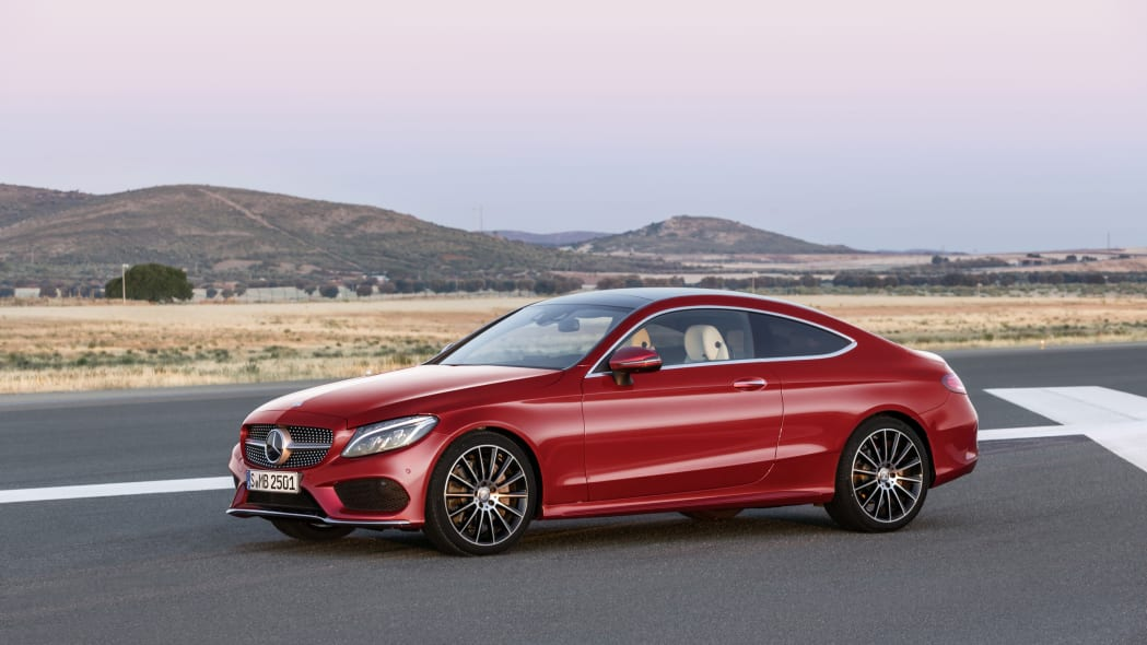 The 2016 Mercedes C-Class Coupe, front three-quarter static.