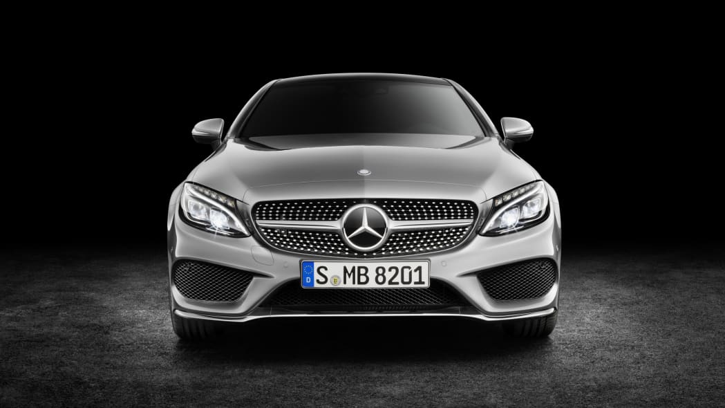 The 2016 Mercedes C-Class Coupe, front view.