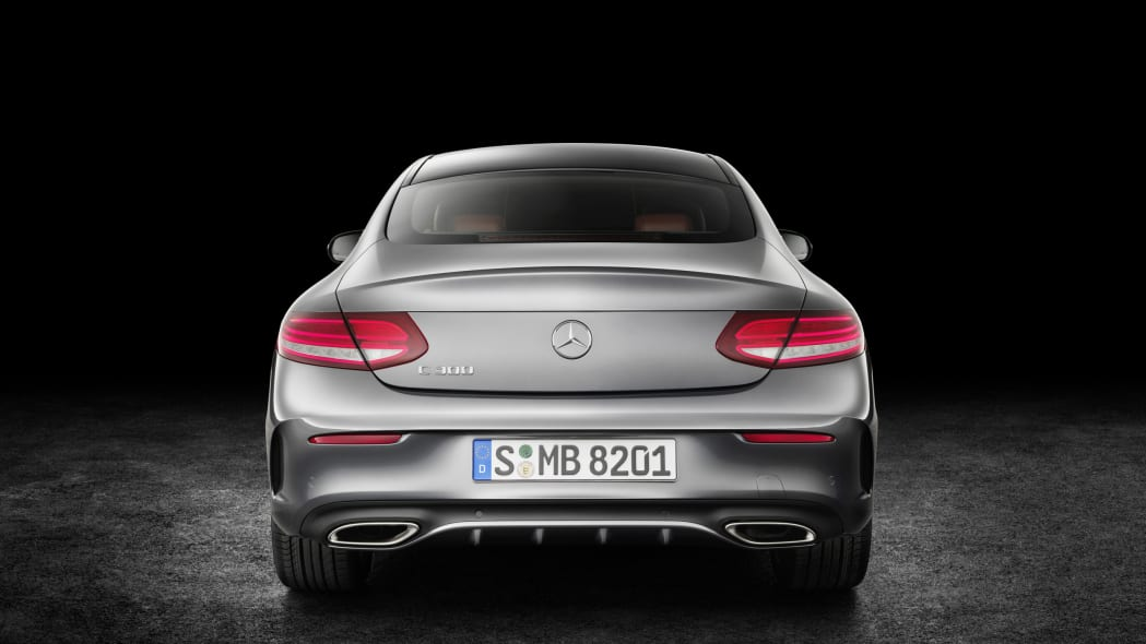 The 2016 Mercedes C-Class Coupe, rear view.