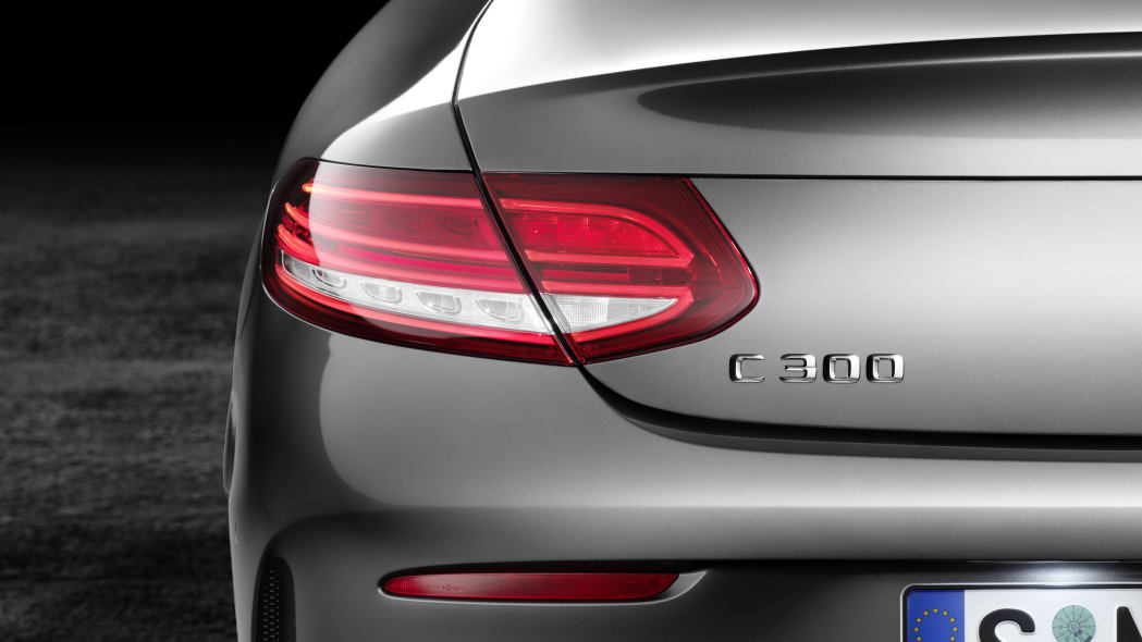 The 2016 Mercedes C-Class Coupe, rear detail.