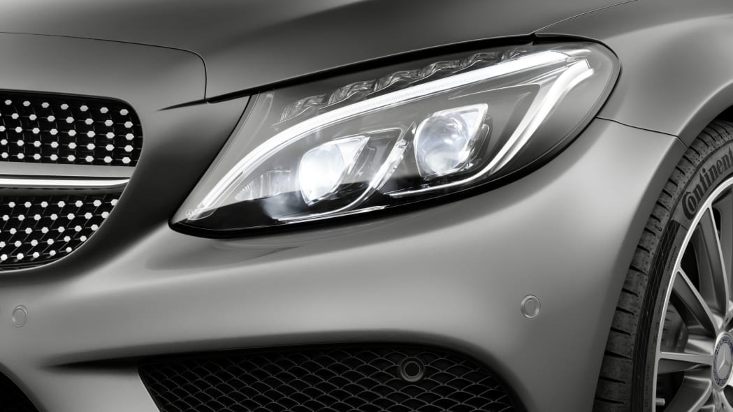 The 2016 Mercedes C-Class Coupe, headlight.