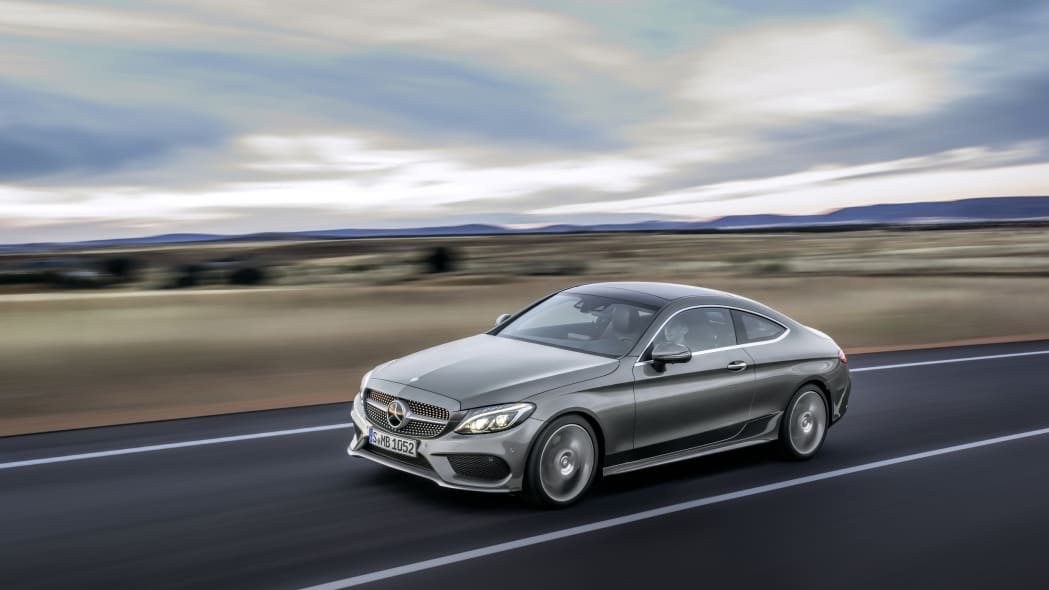 The 2016 Mercedes C-Class Coupe, tracking shot.