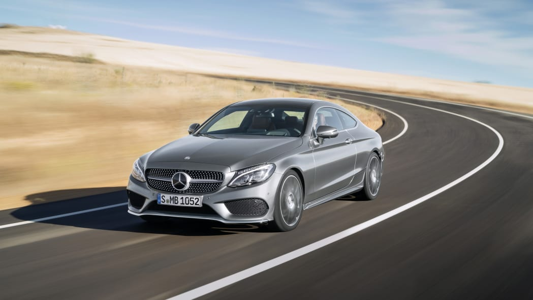 The 2016 Mercedes C-Class Coupe cornering.