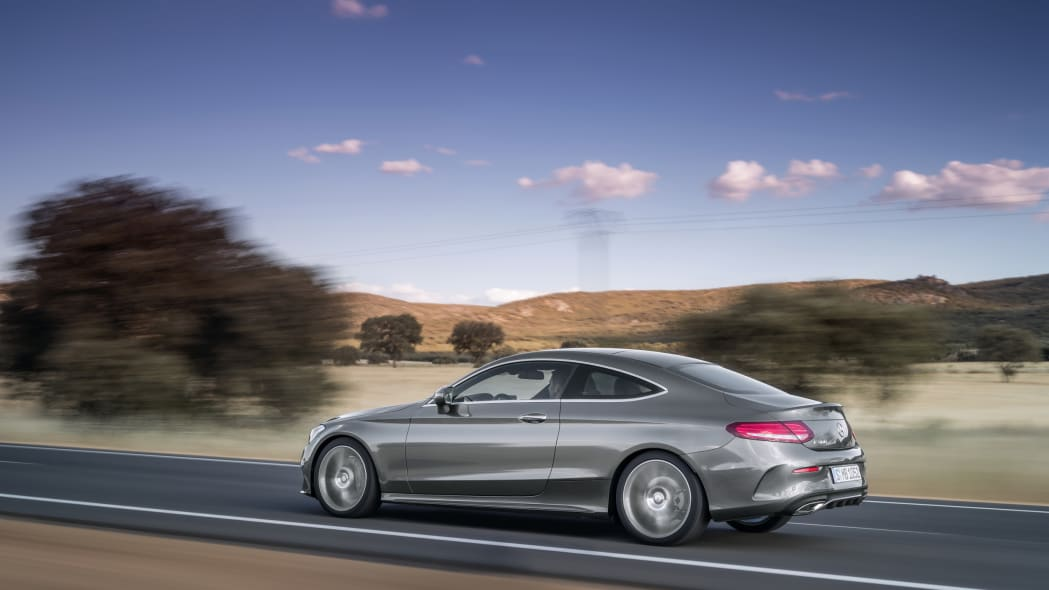 The 2016 Mercedes C-Class Coupe, dynamic shot.