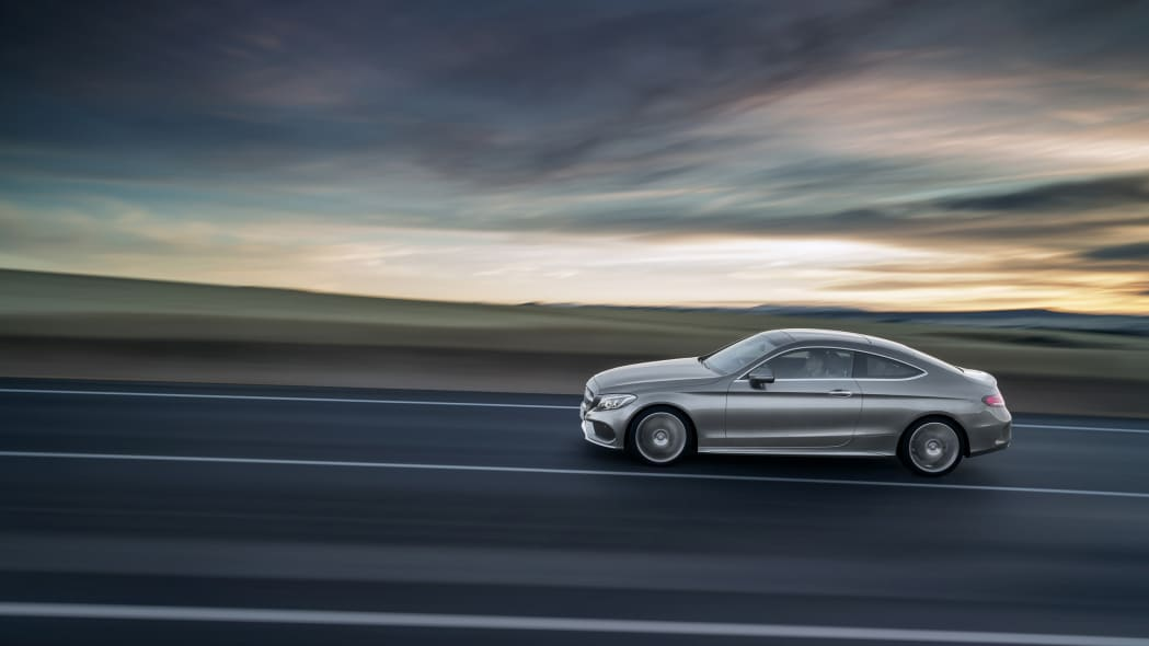 The 2016 Mercedes C-Class Coupe, sunset.