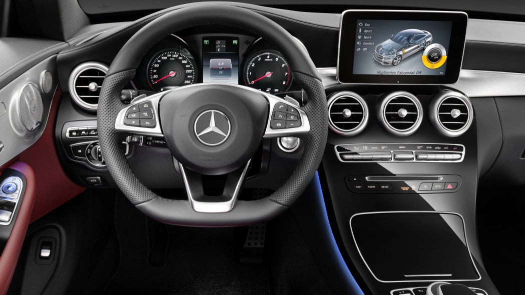 The 2016 Mercedes C-Class Coupe interior close.