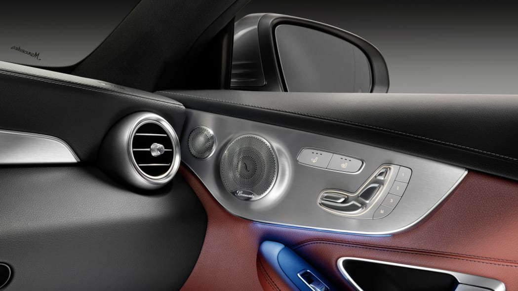 The 2016 Mercedes C-Class Coupe stereo detail.