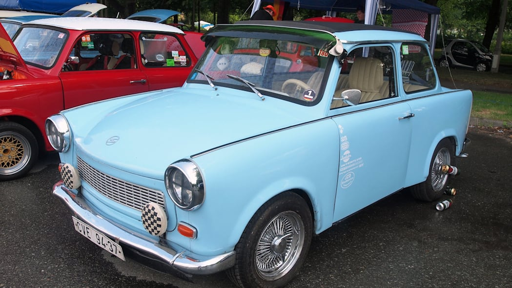 A blue Trabi at the 2015 Trabant Fest in Zwickau, Germany