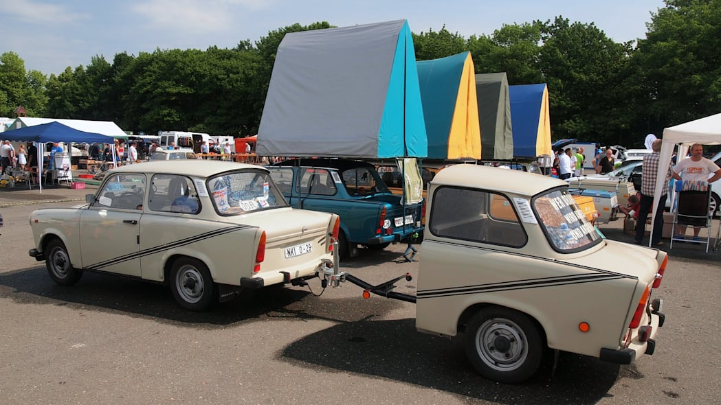 A Trabi with a half-trailer at the 2015 Trabant Fest in Zwickau, Germany