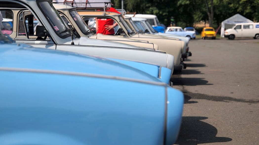 Front ends of Trabis lined up at the 2015 Trabant Fest in Zwickau, Germany