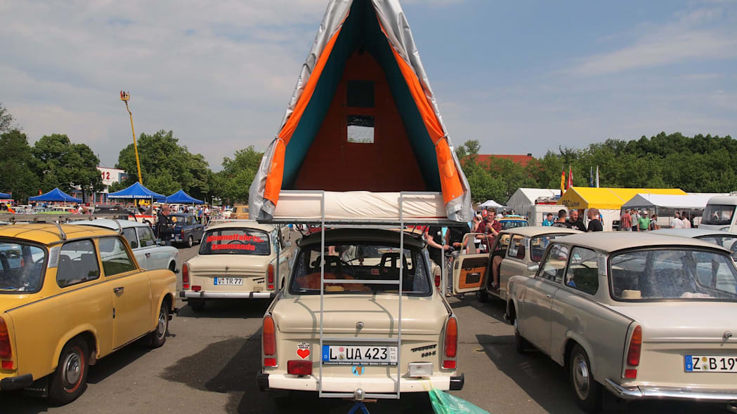 A Trabi with a tent on top at the 2015 Trabant Fest in Zwickau, Germany