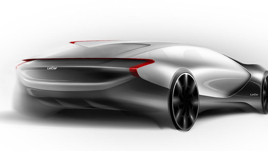 Sketch of the Le* Car electric vehicle, a product of China's Le TV, described as that country's version of Netflix, rear three-quarter.