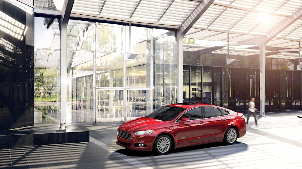 2016 Ford Fusion Energi PHEV in red.