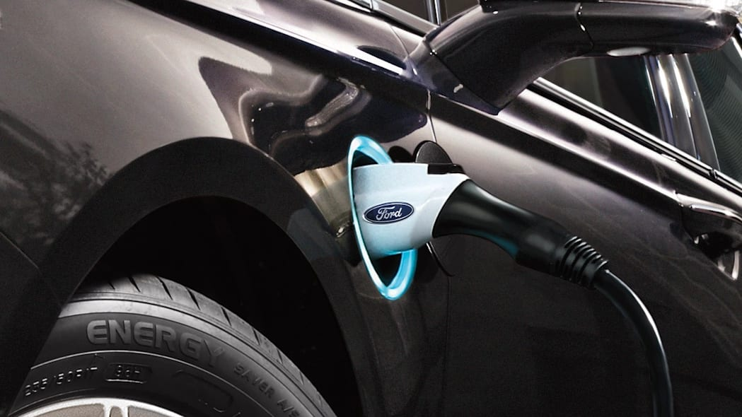 2016 Ford Fusion Energi PHEV charge port.