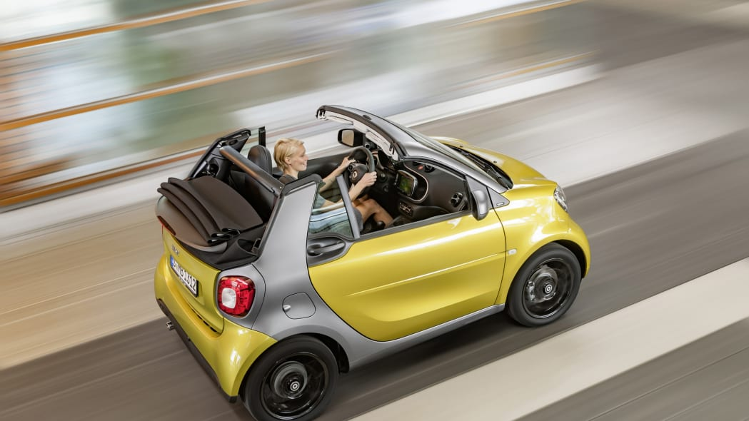 The 2016 Smart Fortwo Cabriolet, overhead rear three-quarter.