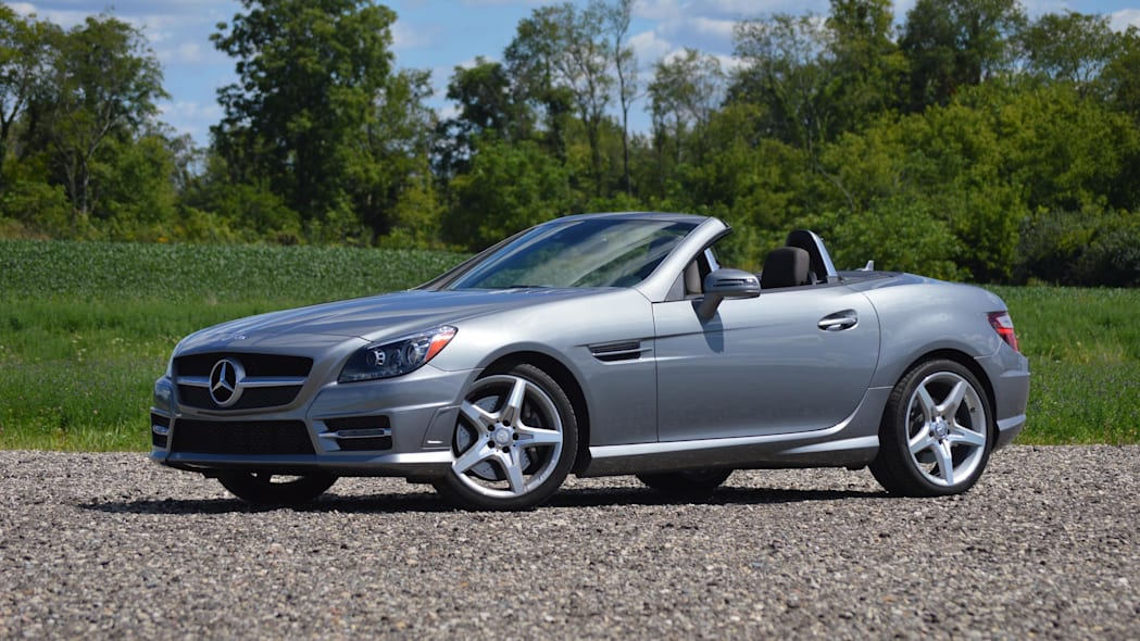 2015 mercedes-benz slk250 silver front wide green field