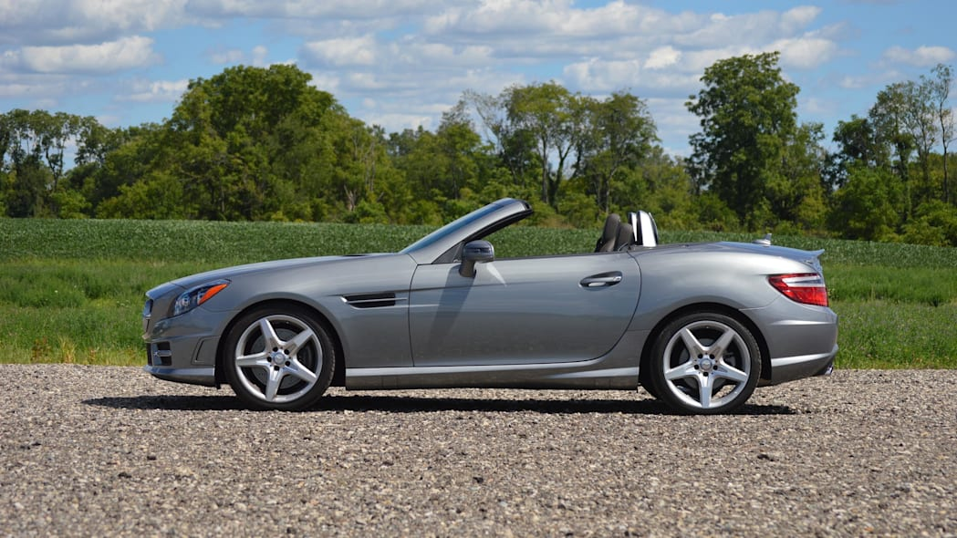 2015 mercedes-benz slk250 silver profile top down