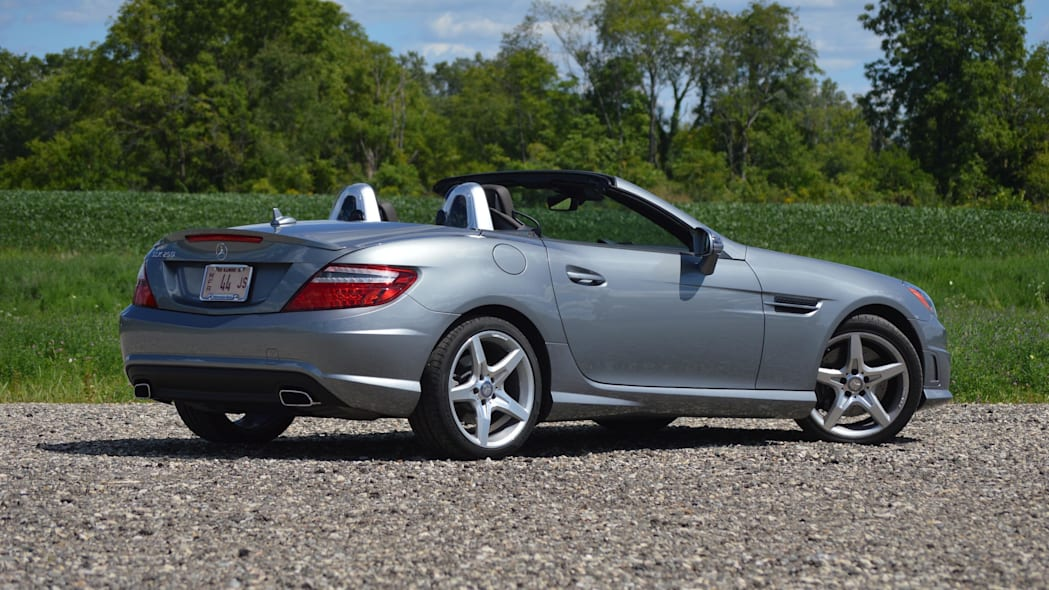 2015 mercedes-benz slk250 silver rear wide green field