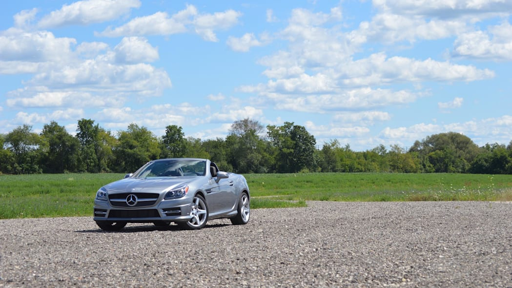 2015 mercedes-benz slk250 silver wide shot blue sky