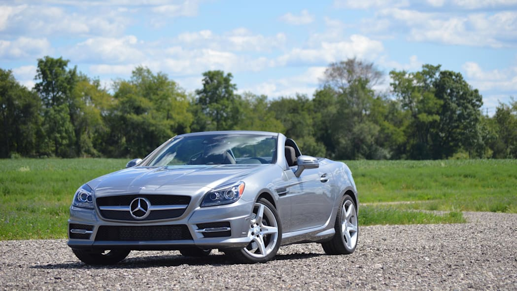 2015 mercedes-benz slk250 silver blue sky green field