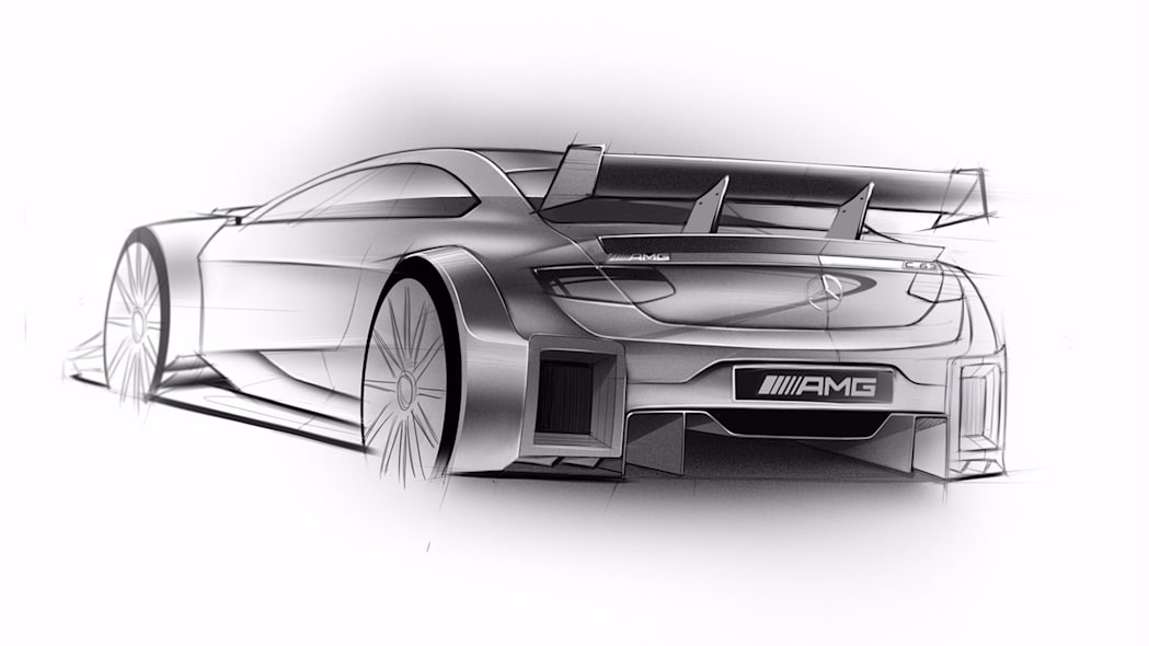 A sketch of the 2016 Mercedes-AMG DTM entry based on the C 63 Coupe, rear three-quarter view.