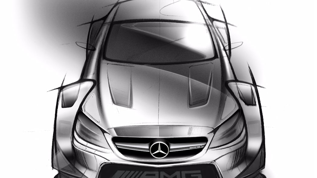 A sketch of the 2016 Mercedes-AMG DTM entry based on the C 63 Coupe, overhead front view.