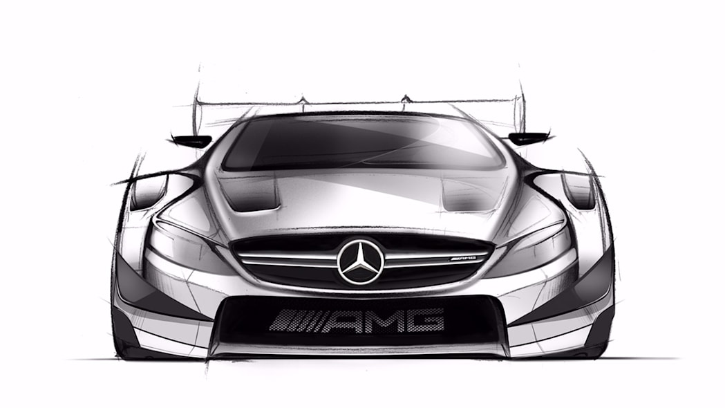 A sketch of the 2016 Mercedes-AMG DTM entry based on the C 63 Coupe, front view.