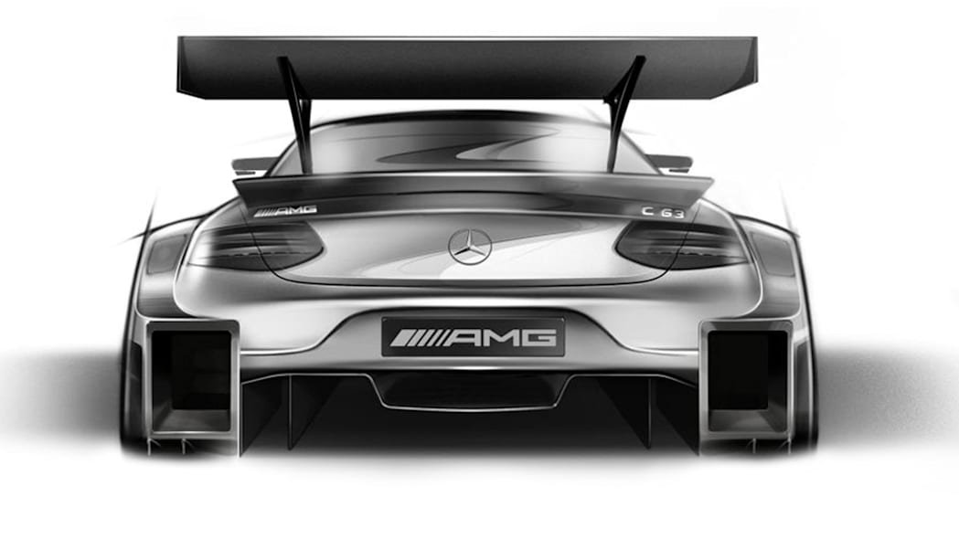 A sketch of the 2016 Mercedes-AMG DTM entry based on the C 63 Coupe, rear view.