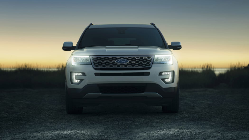 Ford shows off 2016 Explorer in Platinum trim, with Sony premium audio, front view.
