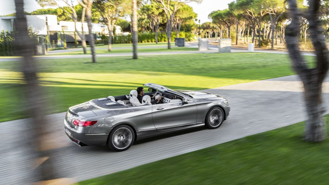 mercedes trees s-class cabrio top down action moving