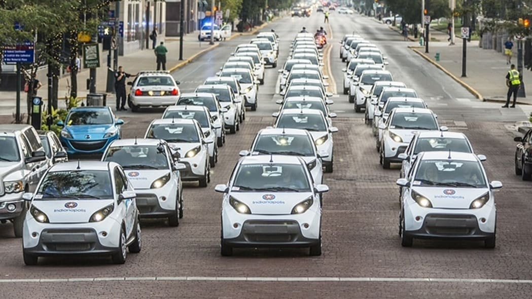 50 BlueIndy EVs ready for carsharing in Indianapolis, Indiana.