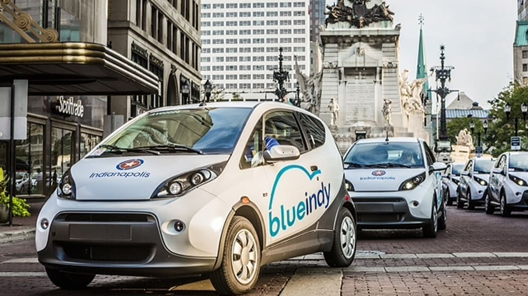 BlueIndy Carsharing EVs by the War Memorial in Indianapolis, Indiana.