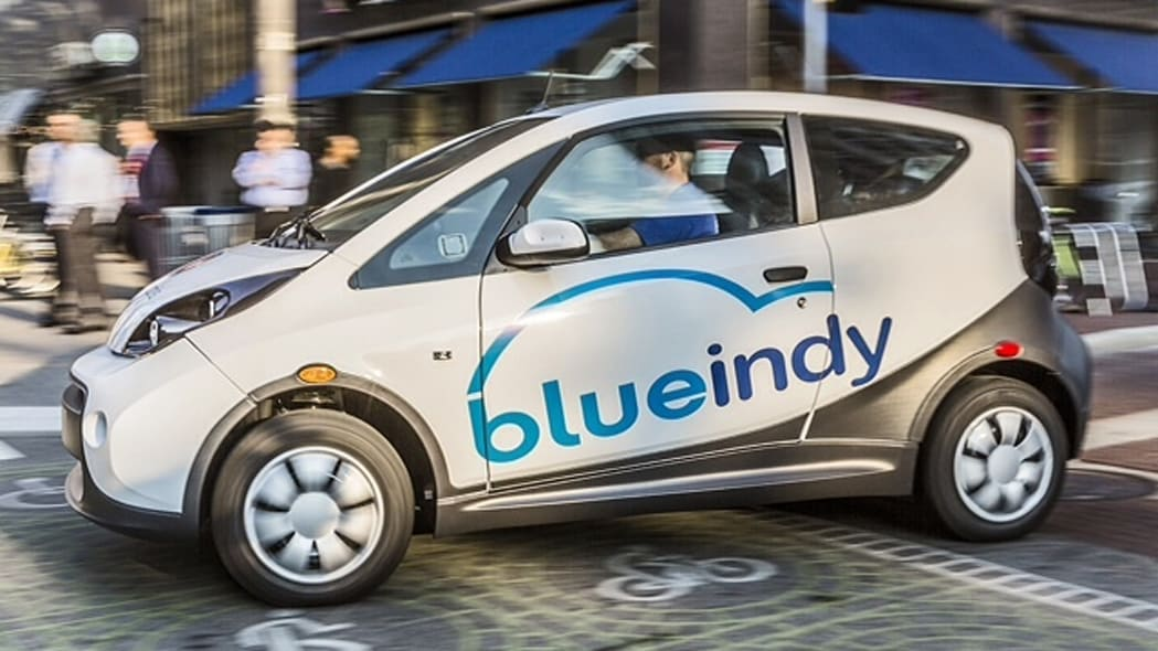 BlueIndy Carsharing EV on the road
