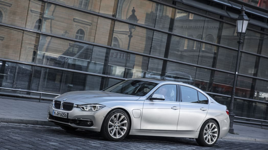bmw 330e parked on street