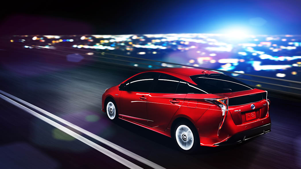 2016 Toyota Prius in red, rear view