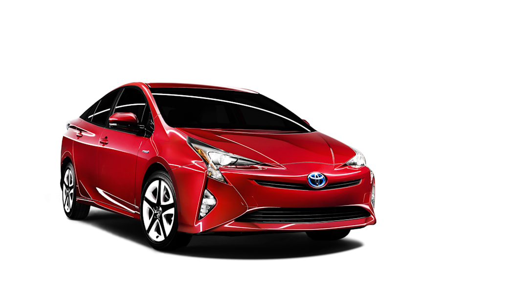 2016 Toyota Prius in red, front 3/4