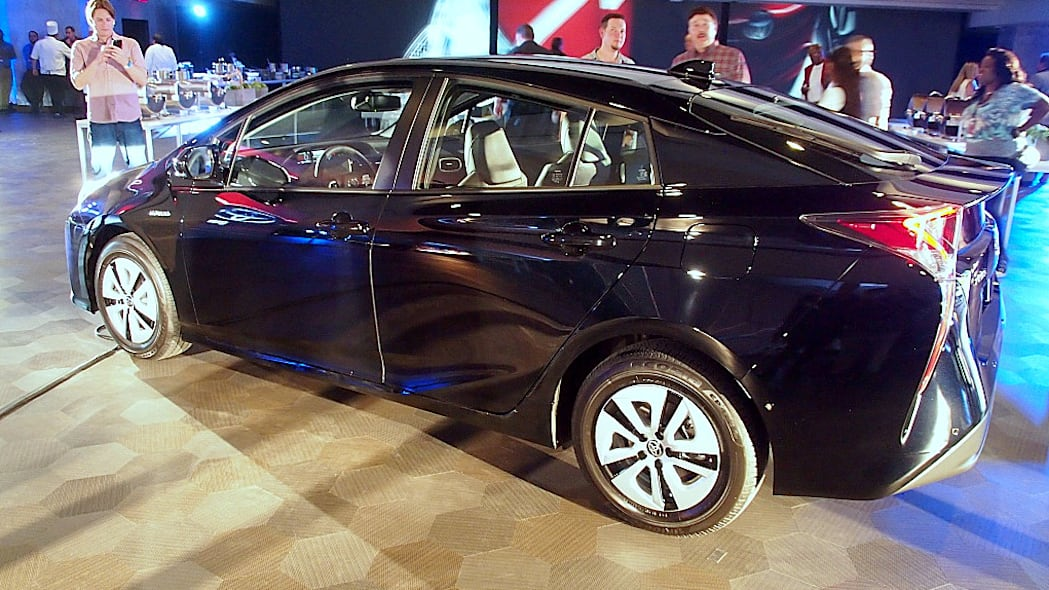 2016 Toyota Prius in black, rear 3/4