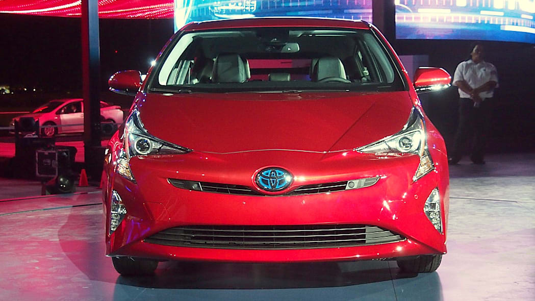 2016 Toyota Prius red, at reveal event, front view