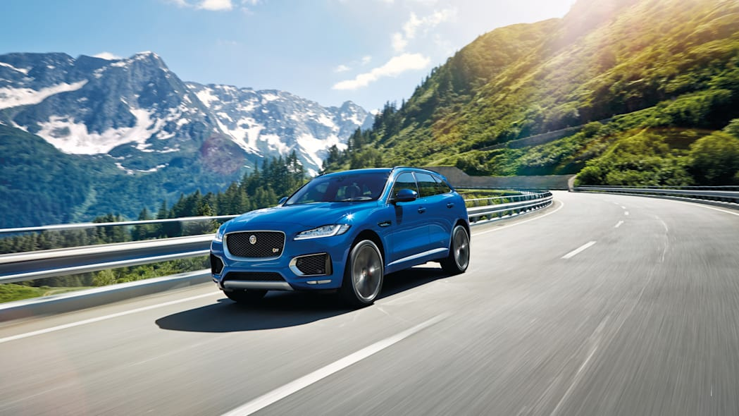 f-pace jaguar cuv corner mountains action