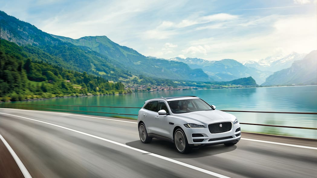 f-pace jaguar lake mountain speed action