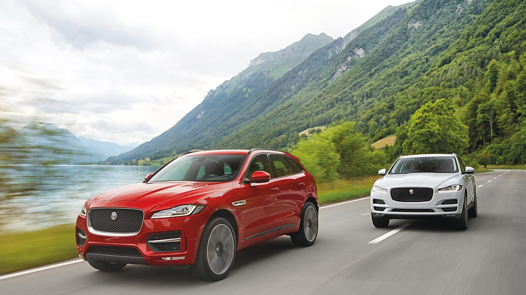 f-pace 2017 jaguar cuv pair road passing