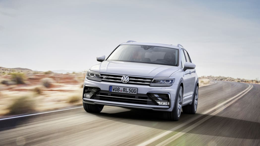 silver vw tiguan r-line on the road